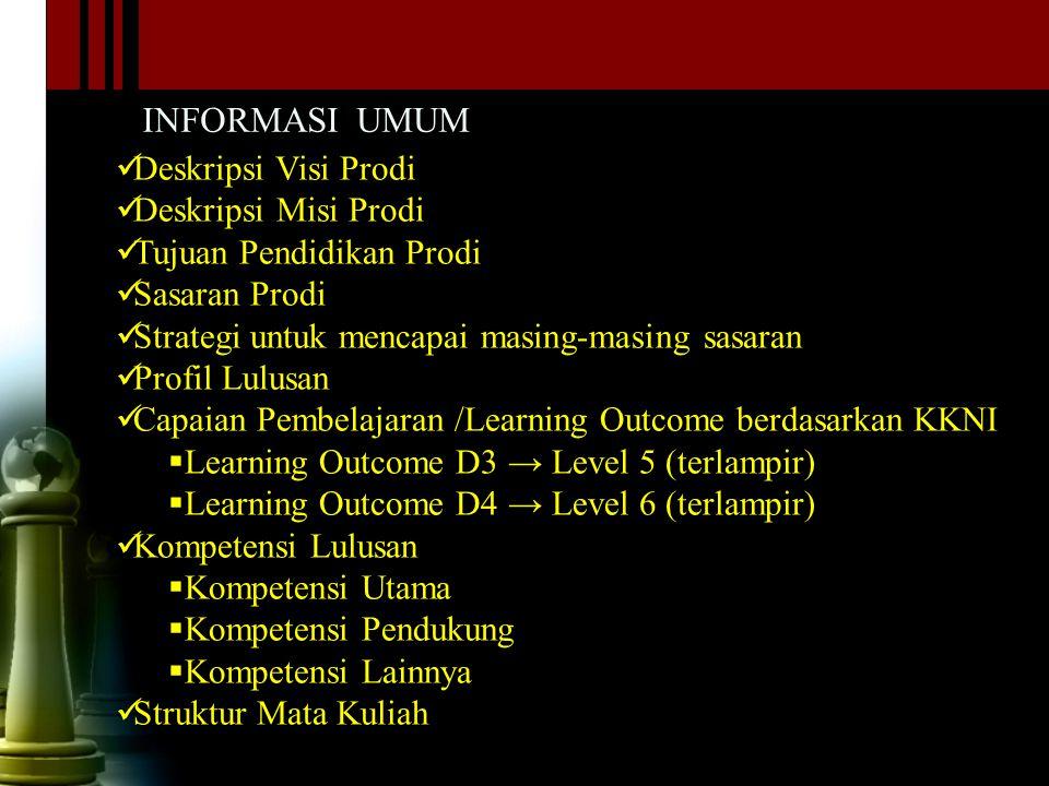 INFORMASI UMUM Deskripsi Visi Prodi. Deskripsi Misi Prodi. Tujuan Pendidikan Prodi. Sasaran Prodi.