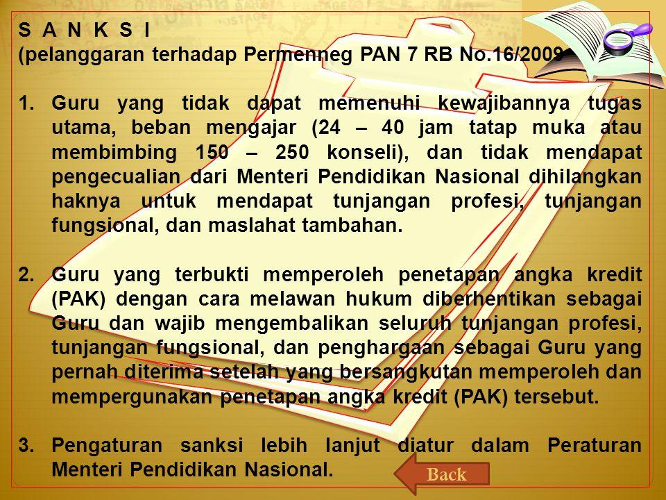 (pelanggaran terhadap Permenneg PAN 7 RB No.16/2009