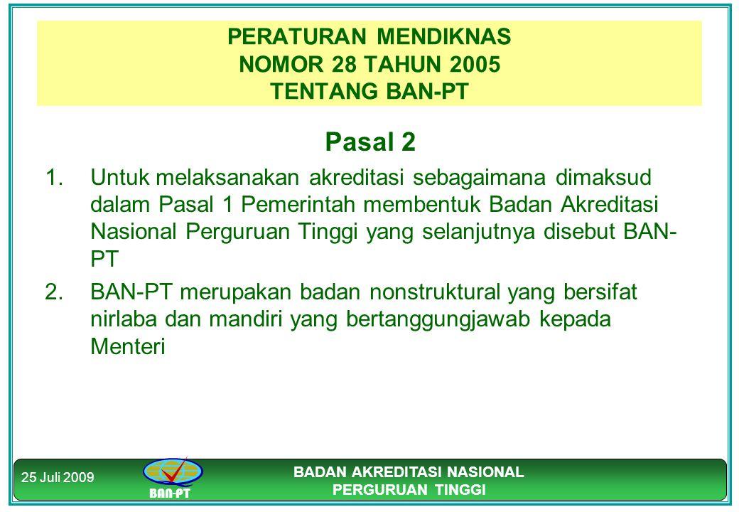 PERATURAN MENDIKNAS NOMOR 28 TAHUN 2005 TENTANG BAN-PT