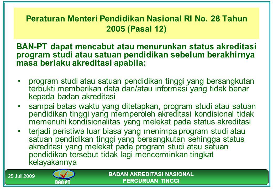 Peraturan Menteri Pendidikan Nasional RI No. 28 Tahun 2005 (Pasal 12)