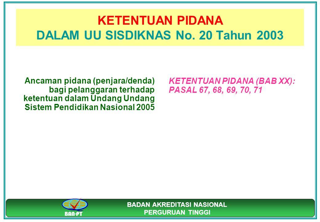 KETENTUAN PIDANA DALAM UU SISDIKNAS No. 20 Tahun 2003