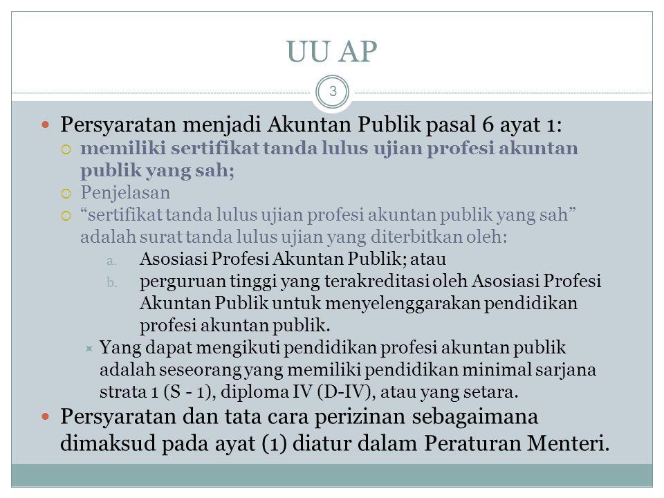 UU AP Persyaratan menjadi Akuntan Publik pasal 6 ayat 1: