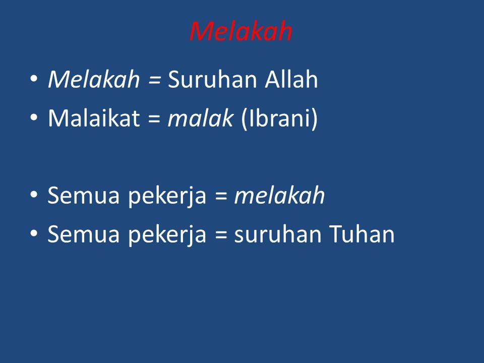 Melakah Melakah = Suruhan Allah Malaikat = malak (Ibrani)
