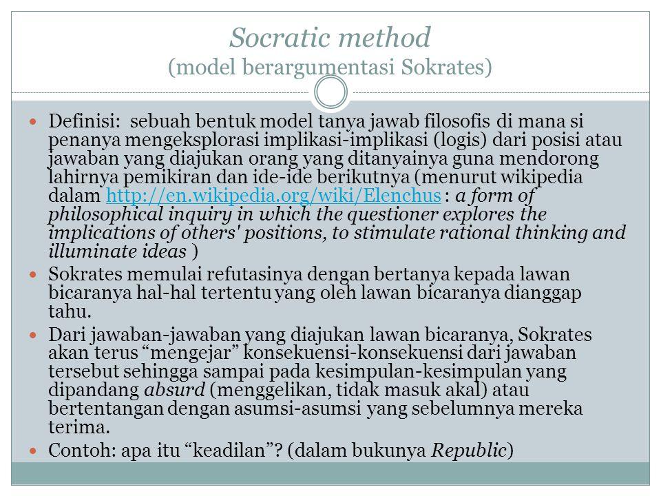 Socratic method (model berargumentasi Sokrates)