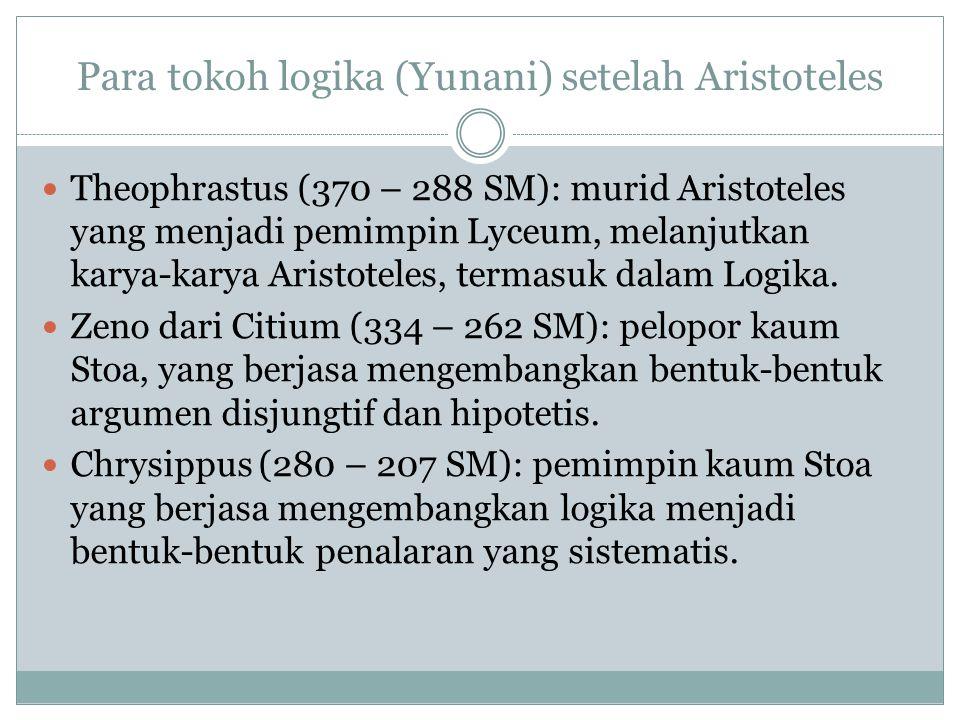 Para tokoh logika (Yunani) setelah Aristoteles