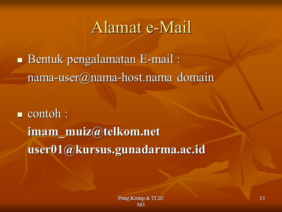 Alamat e-Mail Bentuk pengalamatan E-mail :