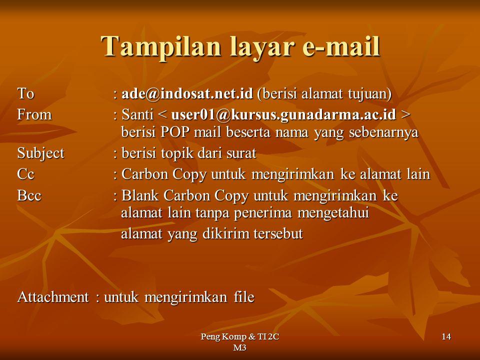 Tampilan layar e-mail To : ade@indosat.net.id (berisi alamat tujuan)