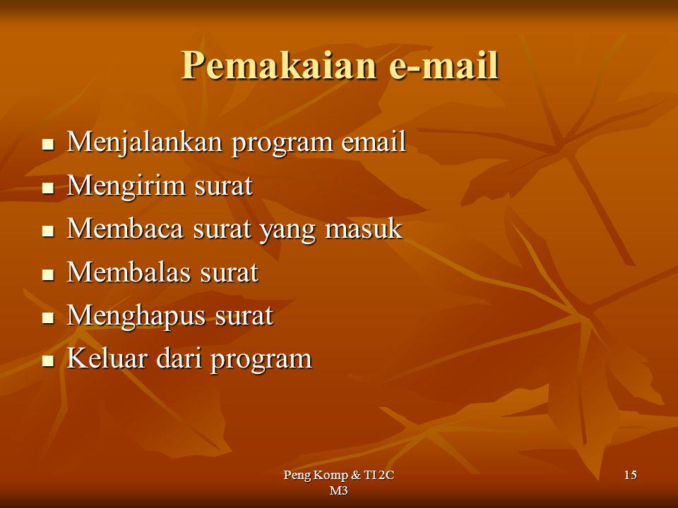 Pemakaian e-mail Menjalankan program email Mengirim surat
