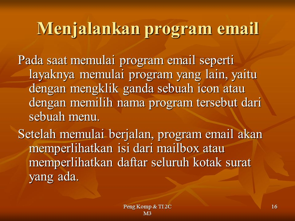Menjalankan program email