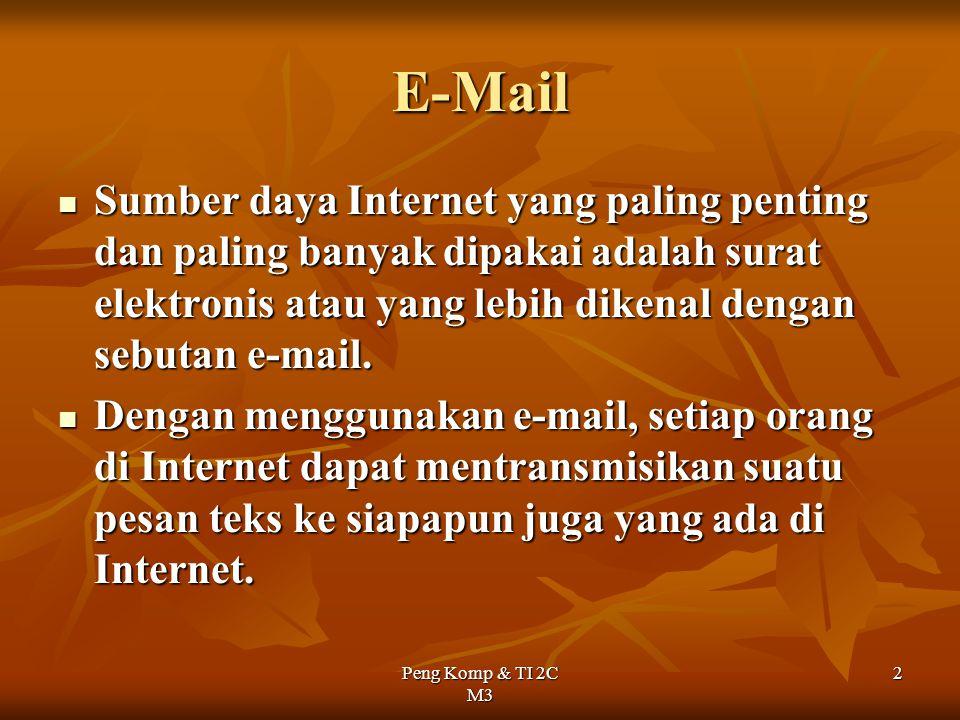 E-Mail Sumber daya Internet yang paling penting dan paling banyak dipakai adalah surat elektronis atau yang lebih dikenal dengan sebutan e-mail.