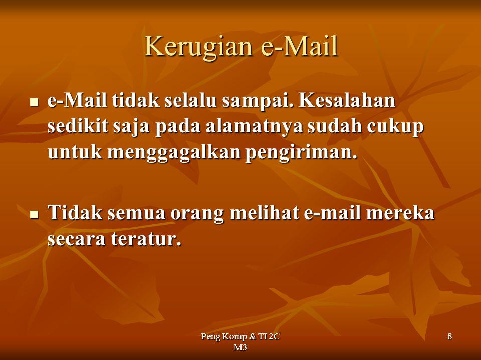 Kerugian e-Mail e-Mail tidak selalu sampai. Kesalahan sedikit saja pada alamatnya sudah cukup untuk menggagalkan pengiriman.
