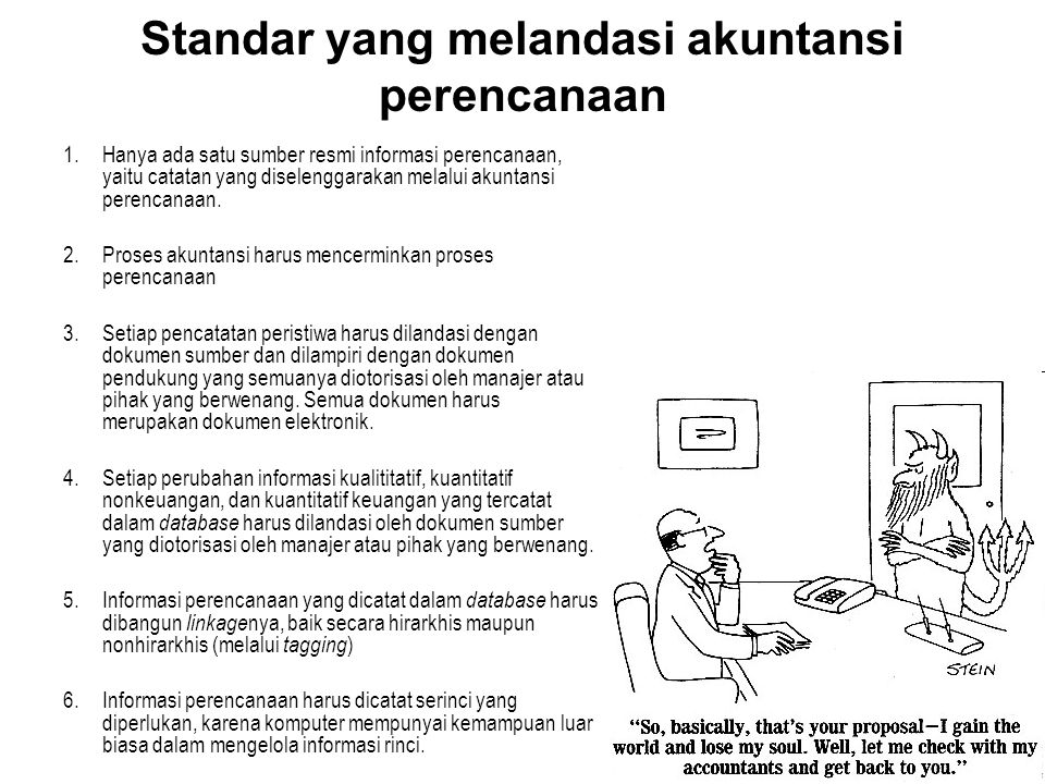 Standar yang melandasi akuntansi perencanaan