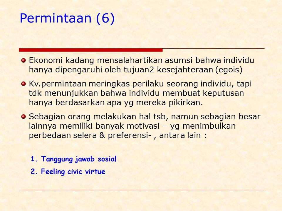 Permintaan (6) Ekonomi kadang mensalahartikan asumsi bahwa individu hanya dipengaruhi oleh tujuan2 kesejahteraan (egois)