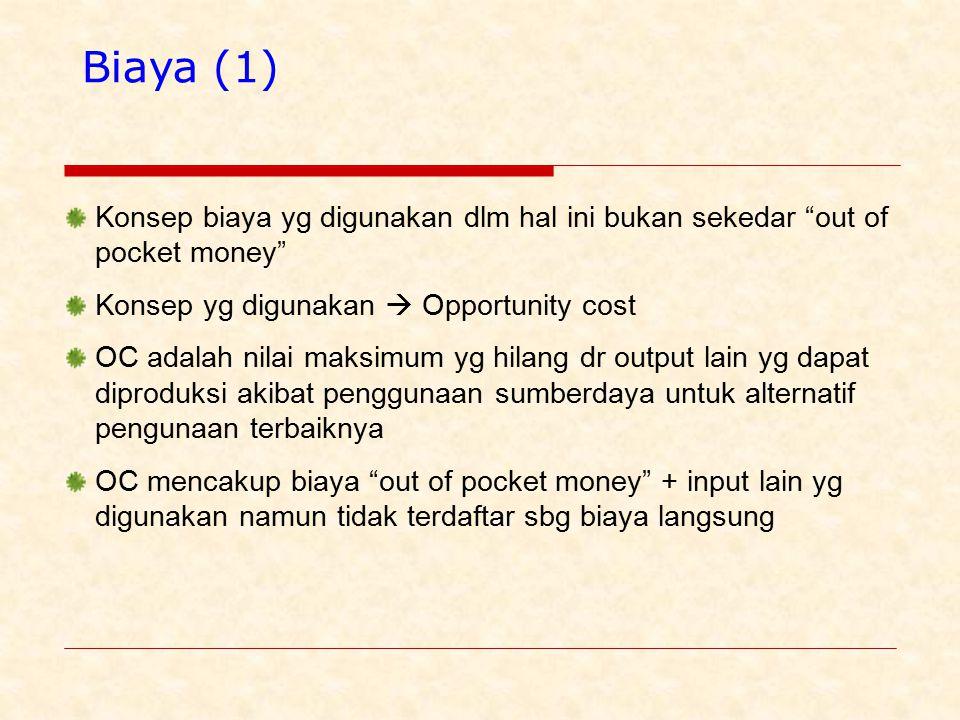 Biaya (1) Konsep biaya yg digunakan dlm hal ini bukan sekedar out of pocket money Konsep yg digunakan  Opportunity cost.