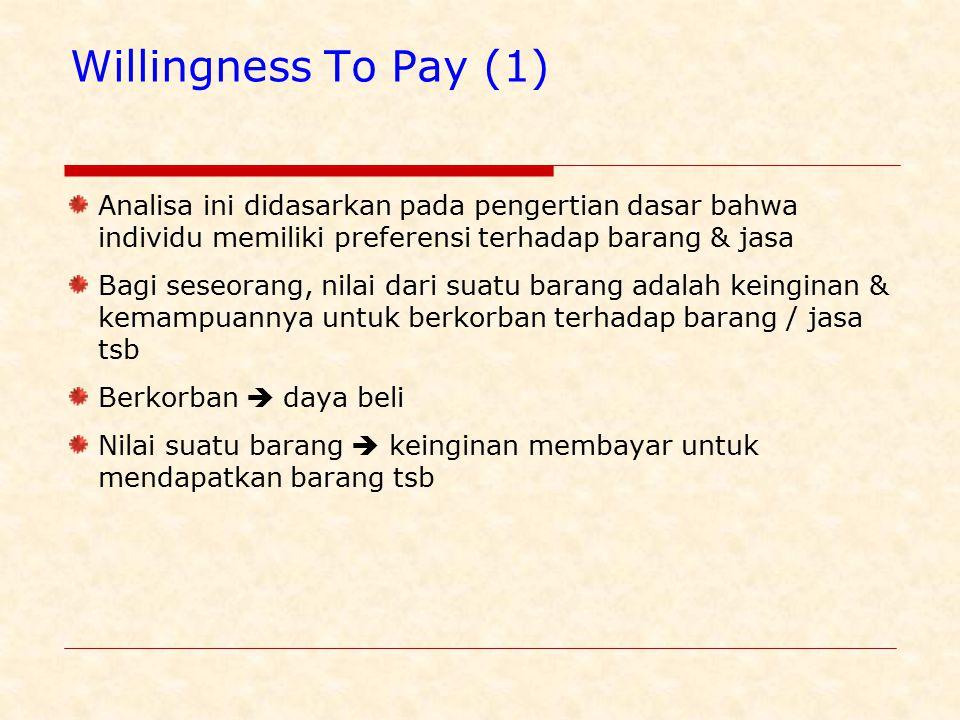 Willingness To Pay (1) Analisa ini didasarkan pada pengertian dasar bahwa individu memiliki preferensi terhadap barang & jasa.