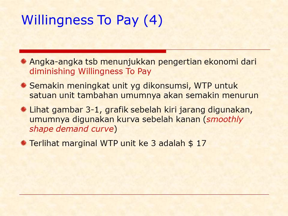 Willingness To Pay (4) Angka-angka tsb menunjukkan pengertian ekonomi dari diminishing Willingness To Pay.