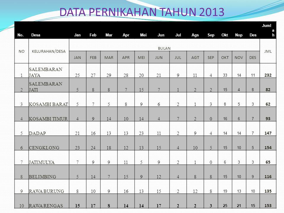 DATA PERNIKAHAN TAHUN 2013 1 SALEMBARAN JAYA 25 27 29 28 20 21 9 11 4