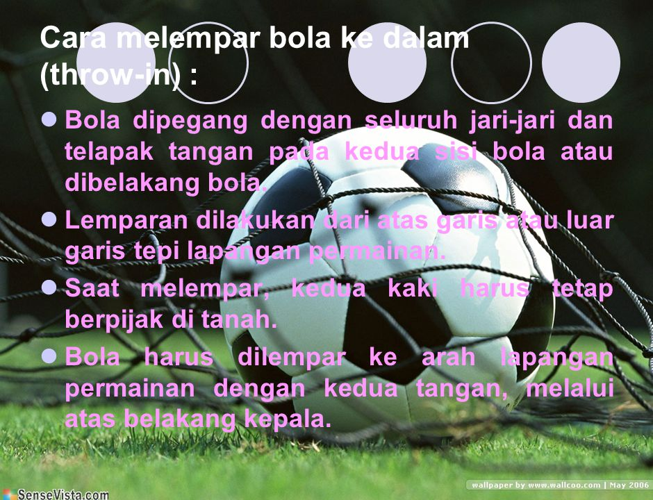 Cara melempar bola ke dalam (throw-in) :
