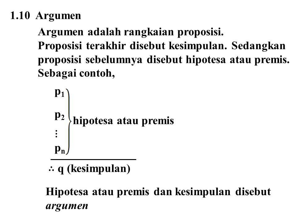 1.10 Argumen Argumen adalah rangkaian proposisi. Proposisi terakhir disebut kesimpulan. Sedangkan.