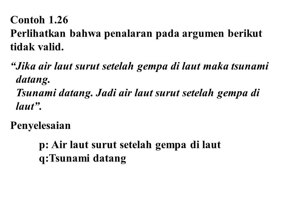 Contoh 1.26 Perlihatkan bahwa penalaran pada argumen berikut. tidak valid. Jika air laut surut setelah gempa di laut maka tsunami.