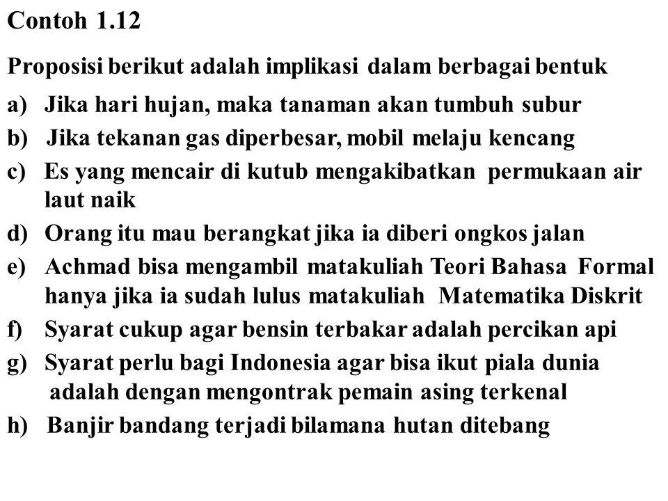 Contoh 1.12 Proposisi berikut adalah implikasi dalam berbagai bentuk