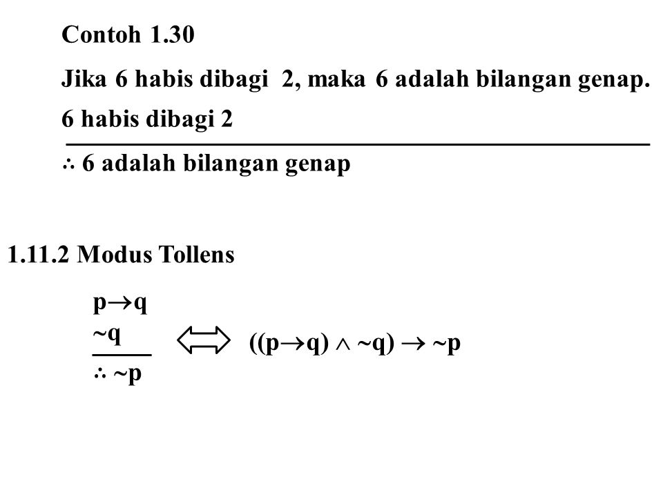 Contoh 1.30 Jika 6 habis dibagi 2, maka 6 adalah bilangan genap. 6 habis dibagi 2. ∴ 6 adalah bilangan genap.