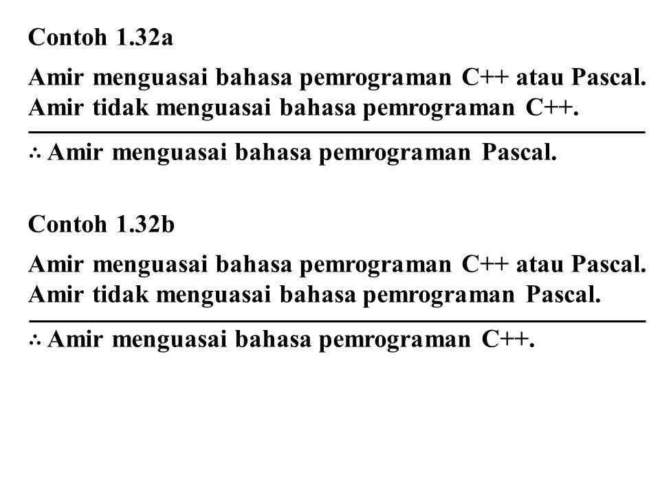Contoh 1.32a Amir menguasai bahasa pemrograman C++ atau Pascal. Amir tidak menguasai bahasa pemrograman C++.