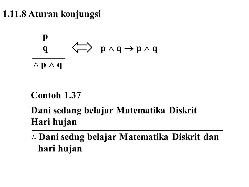 1.11.8 Aturan konjungsi p. q. ∴ p  q. p  q  p  q. Contoh 1.37. Dani sedang belajar Matematika Diskrit.