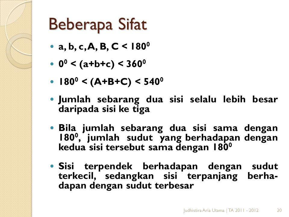 Beberapa Sifat a, b, c, A, B, C < 1800 00 < (a+b+c) < 3600
