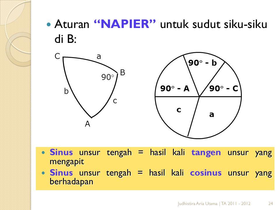 Aturan NAPIER untuk sudut siku-siku di B: