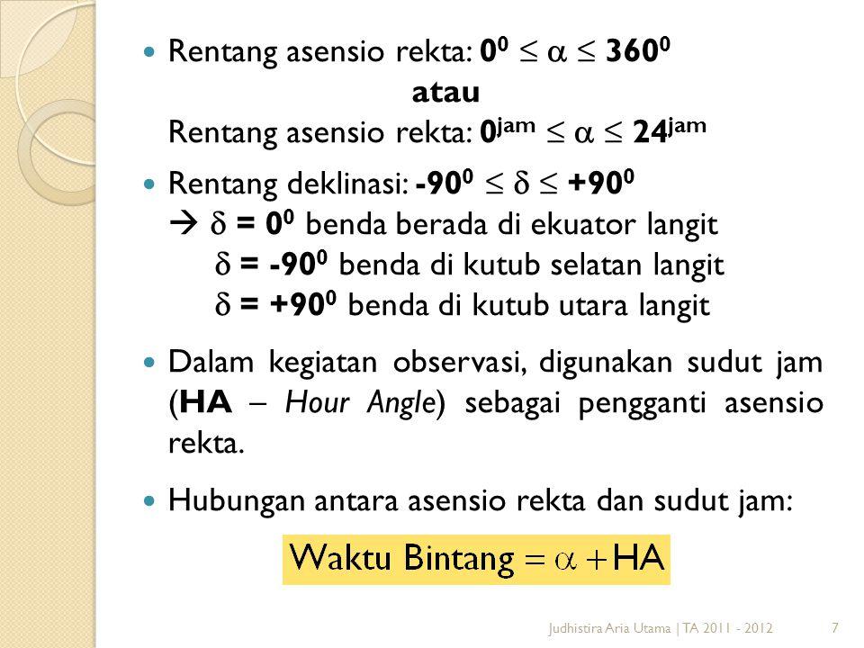 Rentang asensio rekta: 00 ≤ a ≤ 3600 atau