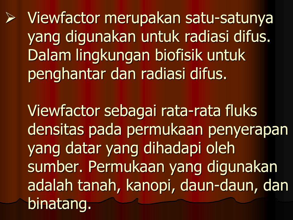 Viewfactor merupakan satu-satunya yang digunakan untuk radiasi difus