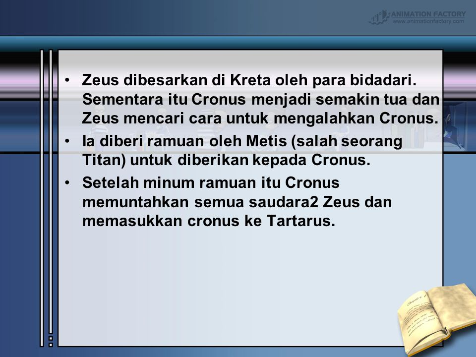 Zeus dibesarkan di Kreta oleh para bidadari