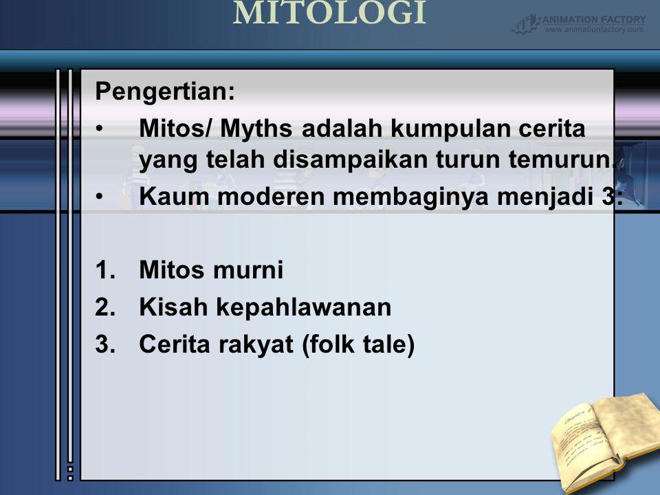 MITOLOGI Pengertian: Mitos/ Myths adalah kumpulan cerita yang telah disampaikan turun temurun. Kaum moderen membaginya menjadi 3: