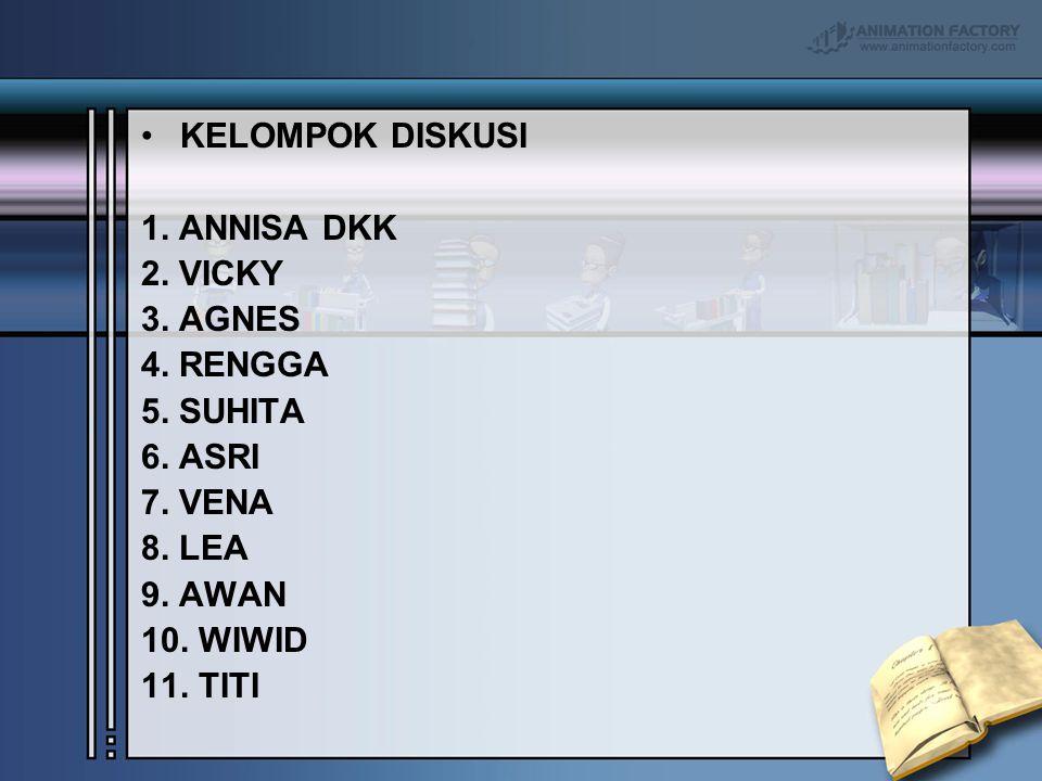 KELOMPOK DISKUSI 1. ANNISA DKK. 2. VICKY. 3. AGNES. 4. RENGGA. 5. SUHITA. 6. ASRI. 7. VENA. 8. LEA.