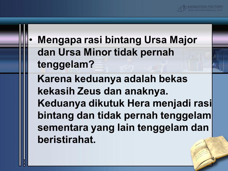 Mengapa rasi bintang Ursa Major dan Ursa Minor tidak pernah tenggelam