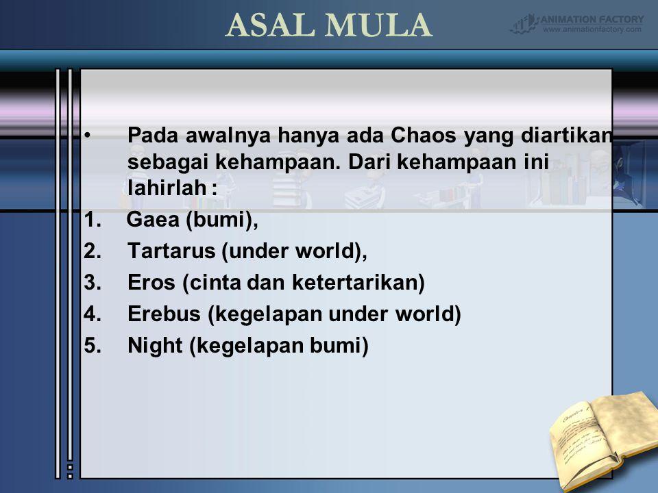 ASAL MULA Pada awalnya hanya ada Chaos yang diartikan sebagai kehampaan. Dari kehampaan ini lahirlah :