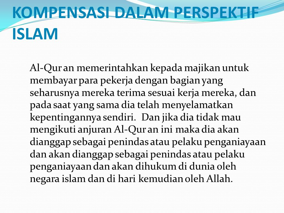 KOMPENSASI DALAM PERSPEKTIF ISLAM