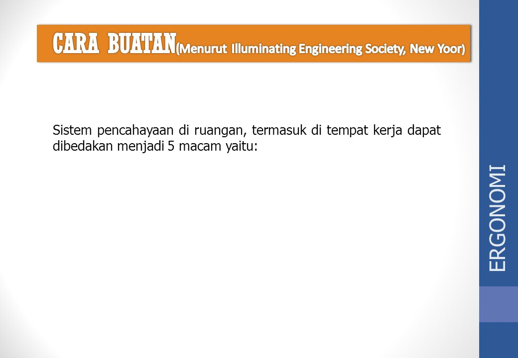 CARA BUATAN(Menurut Illuminating Engineering Society, New Yoor)