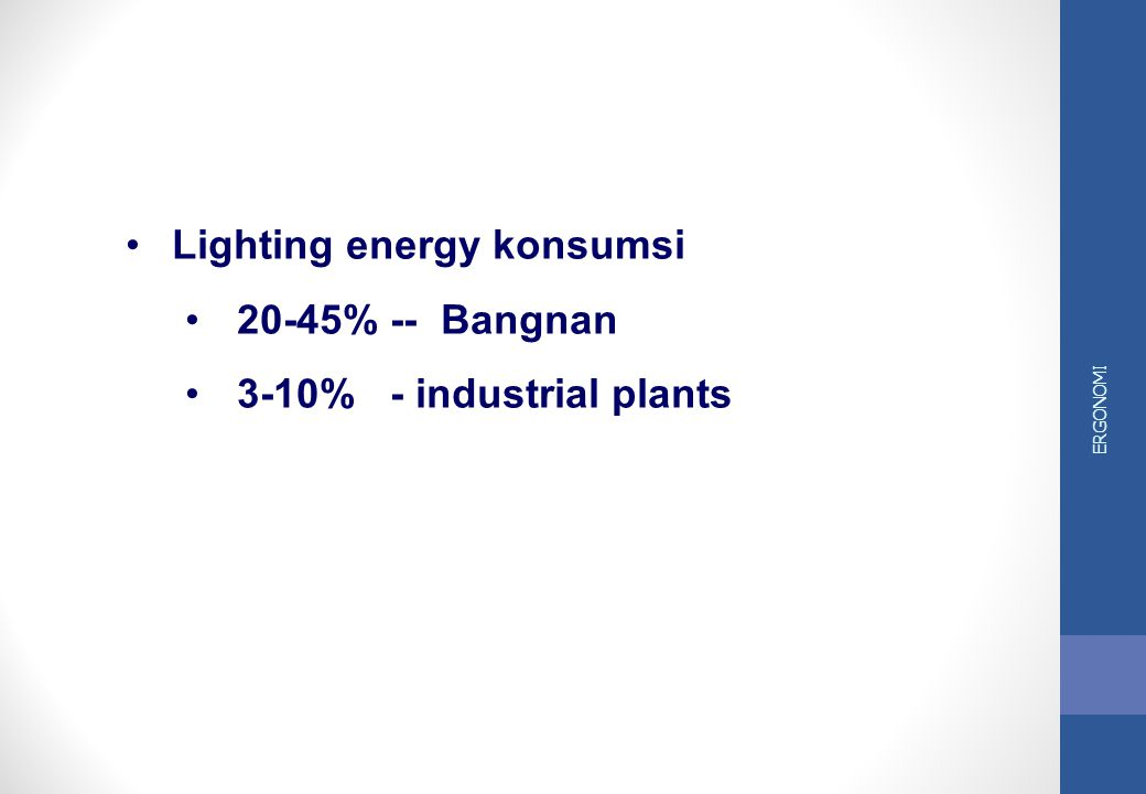 Lighting energy konsumsi 20-45% -- Bangnan 3-10% - industrial plants