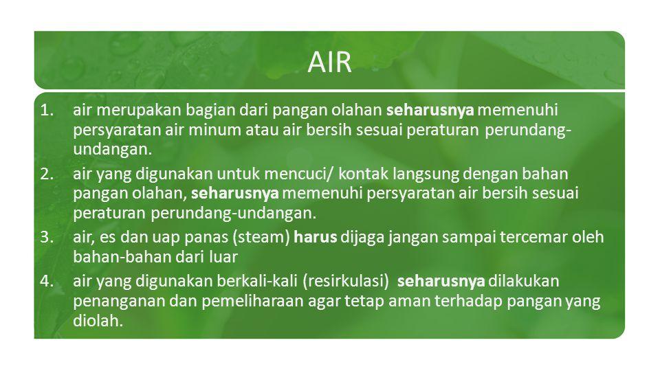 AIR air merupakan bagian dari pangan olahan seharusnya memenuhi persyaratan air minum atau air bersih sesuai peraturan perundang-undangan.