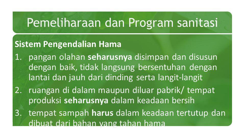 Pemeliharaan dan Program sanitasi