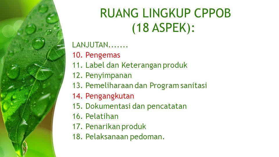 RUANG LINGKUP CPPOB (18 ASPEK):
