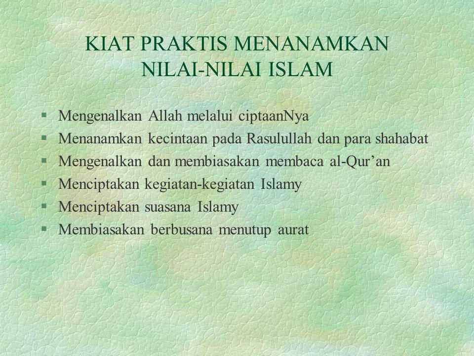 KIAT PRAKTIS MENANAMKAN NILAI-NILAI ISLAM