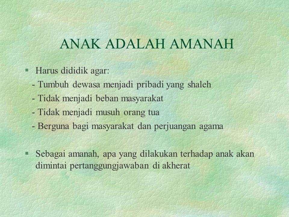 ANAK ADALAH AMANAH Harus dididik agar: