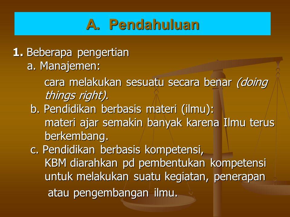A. Pendahuluan 1. Beberapa pengertian a. Manajemen: