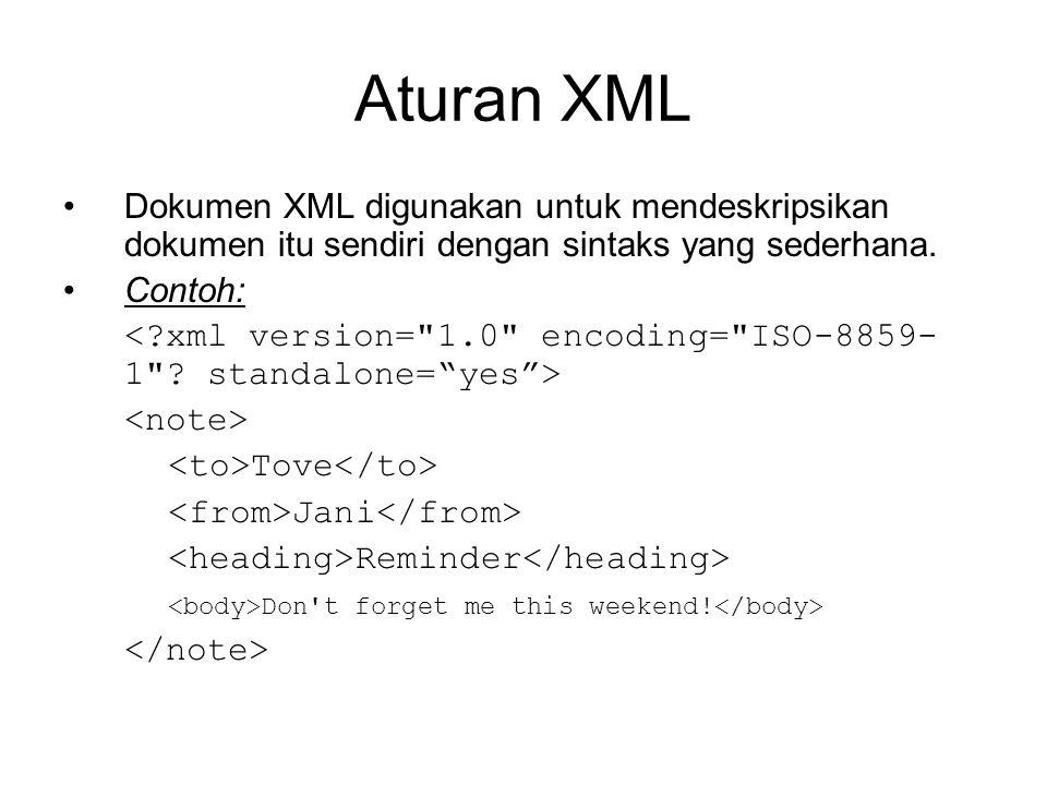 Aturan XML Dokumen XML digunakan untuk mendeskripsikan dokumen itu sendiri dengan sintaks yang sederhana.