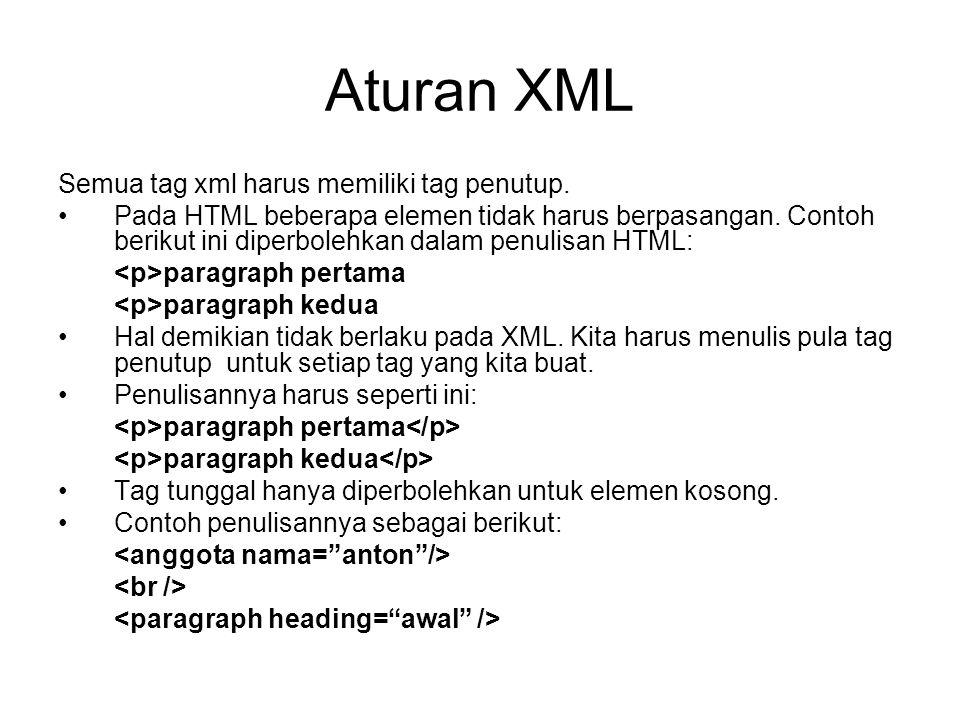 Aturan XML Semua tag xml harus memiliki tag penutup.