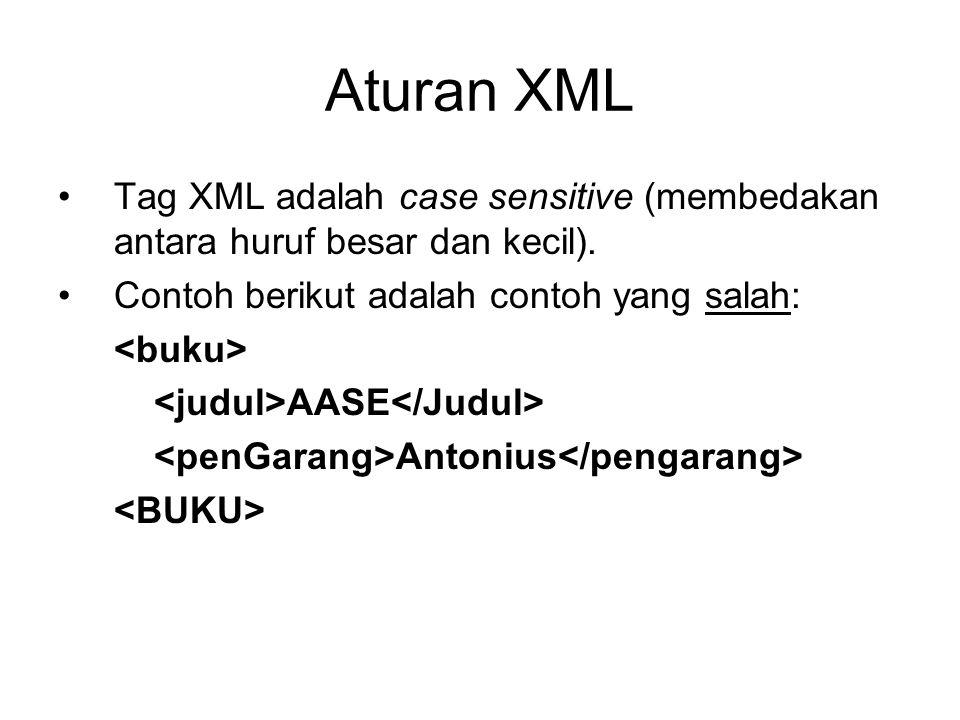 Aturan XML Tag XML adalah case sensitive (membedakan antara huruf besar dan kecil). Contoh berikut adalah contoh yang salah: