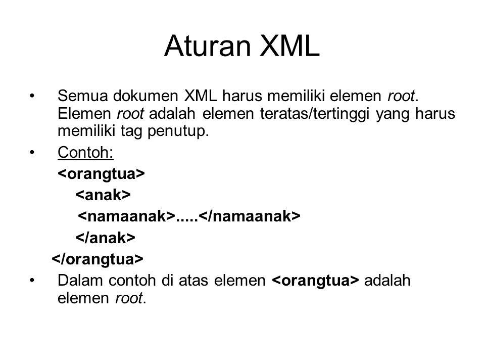 Aturan XML Semua dokumen XML harus memiliki elemen root. Elemen root adalah elemen teratas/tertinggi yang harus memiliki tag penutup.